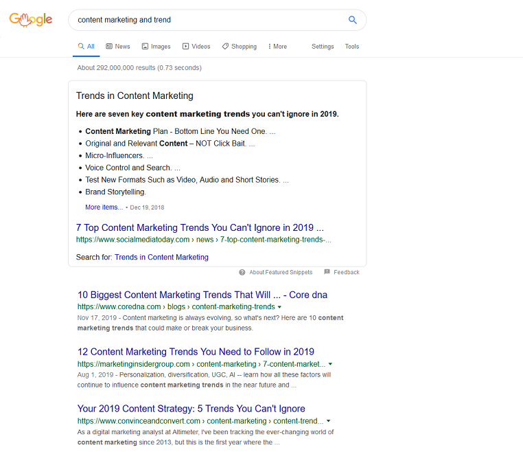 SEO Updates In 2020 - Featured Snippets